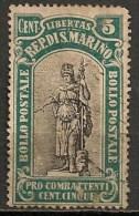 Timbres - Saint-Marin - 1918 - 5 Cent. - - Oblitérés