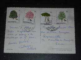 LETTRE SAINT MARIN SAN MARINO AVEC YT 987 988 989 991 - ARBRE MARRONNIER CERF CEDRE RAPACE AIGLE CORNOUILLER PIN HUPPE - Lettres & Documents