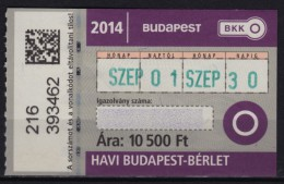 Combined Metro Tramway Bus Train BUDAPEST HUNGARY Ticket - Month Ticket - 2014