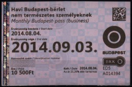 Combined Metro Tramway Bus Train BUDAPEST HUNGARY Ticket - Month Ticket - 2014 - hologram holography