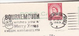 1963  GB COVER SLOGAN Illus  SANTA CLAUS , BOURNEMOUTH WISHES MERRY XMAS A WARM WELCOME Christmas Stamps Card - Christmas
