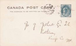 CANADA 1900? - One Cent Ganzsache Auf Pk Gel.v. Dorchester > ? - 1860-1899 Victoria