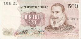 BILLETE DE CHILE DE 500 PESOS  DEL AÑO 1997  (BANKNOTE) - Chile