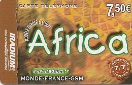 CARTE PREPAYEE-IRADIUM-7.5 €-AFRICA-31-12-2004--V°-C Ode GN°Lasers Sur Fond Gris N°serie En 3 Parties-T BE - Autres Prépayées