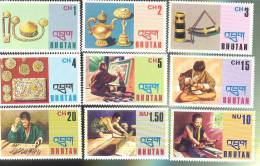 MNH BHUTAN #  184-92 : STAMPS ; ART ; TOOLS ; JEWELRY - Bhutan