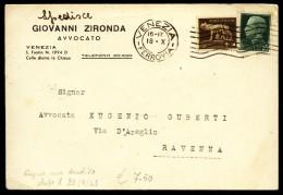 VENEZIA - 1943 - CARTOLINA INTESTATA - AVVOCATO ZIRONDA - Venezia
