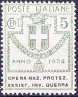 SI53D Italia Italy Regno Emesso 1924 Enti Semistatali 5 C. Nuovo Sg. Filg. Corona Opera Naz. Protez. Assist. Inv. Guerra - 1900-44 Vittorio Emanuele III