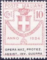 SI53D Italia Italy Regno Emesso 1924 Enti Semistatali 10 C.nuovi Sg. Filg. Corona Opera Naz. Protez. Assist. Inv. Guerra - 1900-44 Vittorio Emanuele III
