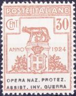 SI53D Italia Italy Regno Emesso 1924 Enti Semistatali 30 C.nuovi Sg. Filg. Corona Opera Naz. Protez. Assist. Inv. Guerra - 1900-44 Vittorio Emanuele III