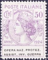 SI53D Italia Italy Regno Emesso 1924 Enti Semistatali 50 C.nuovi Sg. Filg. Corona Opera Naz. Protez. Assist. Inv. Guerra - 1900-44 Vittorio Emanuele III
