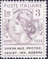SI53D Italia Italy Regno Emesso 1924 Enti Semistatali 3 L.nuovi Sg. Filg. Corona Opera Naz. Protez. Assist. Inv. Guerra - 1900-44 Vittorio Emanuele III