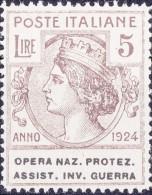 SI53D Italia Italy Regno Emesso 1924 Enti Semistatali 5 L.nuovi Sg. Filg. Corona Opera Naz. Protez. Assist. Inv. Guerra - 1900-44 Vittorio Emanuele III