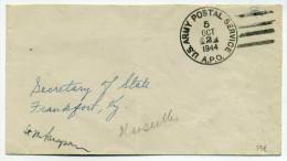 WW2 : Lettre Avec Bureau De Poste US ARMY POSTAL SERVICE  APO N°5 De Marseille BOUCHES DU RHONE / Oct 1944 - WW II