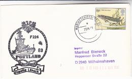 1983 GB  PAQUEBOT  COVER  Pmk MARINESHIFFSPOST  Illus SHIP Fregatte LUBECK F224 GERMAN NAVY In PORTLAND - Ships