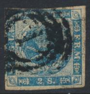 Denmark Danemark Danmark 1855: 2sk Blue Imperf, Fine Used (DCDK00120) - 1851-63 (Frederik VII)