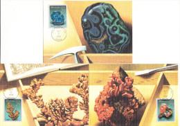 3 First  Day Of Issue Postcards : MINERALS USA 29C - 1992 - Copper, Azurite & Wulfenite - Washington D.C. - Storia Postale