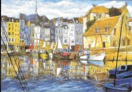 """Philippe De Lestrange. """"Port D´Honfleur"""". Carte Double Croix Rouge Française. - Peintures & Tableaux"""