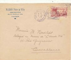 ENVELOPPE TANGER CASABLANCA NAHON ASSURANCES - Marcophilie (Lettres)