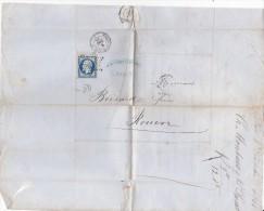 FRANCE YT N° 14B 20c Napoléon III ETOILE Cachet Décembre 1855 Paris Au Havre BOISARD, MONTEAUX & LUNEL Lettre - Marcophilie (Lettres)