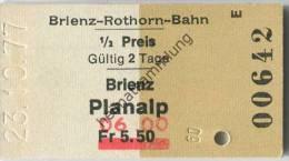 Schweiz - Brienz Planalp - Brienz-Rothorn-Bahn - 1/2 Preis - 1977 Fahrkarte Fr. 5.50 - �berdruck Fr. 6.00