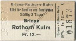 Schweiz - Brienz Rothorn Kulm - Brienz-Rothorn-Bahn - Billet f�r Familien und Rundfahrten - 1971 20% Fahrkarte Fr. 12.-