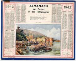 CALENDRIER GF 1942 - Port De BASTIA (et Bord De Plage Ou Port Au Loin) - Imp Oberthur - Calendriers