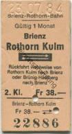 Schweiz - Brienz Rothorn Kulm und zur�ck - Brienz-Rothorn-Bahn - 1984 Fahrkarte Fr. 38.-