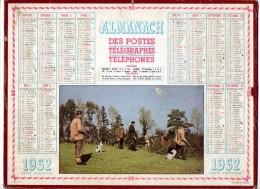 CALENDRIER GF 1952 - Partie De Chasse - Imprimerie Oller - Calendriers