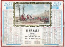 CALENDRIER GF 1953 - Les Chasseurs Au Faucon (tableau) - Imprimerie Oller - Calendriers
