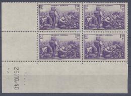 FR - 1940 -  N° 468 -  BLOC DE 4 COINS DATES -  XX - MNH - TB - COTE 20.00 € - - Coins Datés