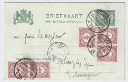 NL, 1907, Doppel-GA, Gute Zusatzfrankatur ,  #1234 - Periode 1891-1948 (Wilhelmina)