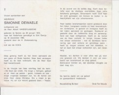 Simonne Dewaele (1912-1984) - Devotieprenten