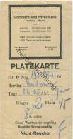 Platzkarte f�r D-Zug 193 - Berlin nach Kudowa 22. 05. 1924 - 3. Klasse Nichtraucher - Wertmarke 50Rpf.