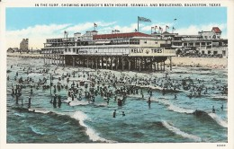 In The Surf, Showing Murdoch's Bath House, Seawall And Boulevard, Galveston - Texas - Galveston