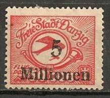 Timbres - Allemagne - Etranger - Aéreo - Dantzig - 1923 - 5 Millionen -