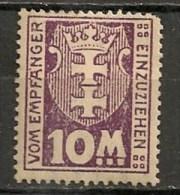 Timbres - Allemagne - Etranger - Dantzig - Taxe - 1923 - 10 M. -