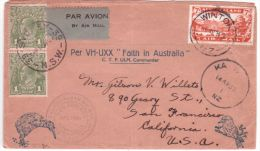 1934- Env. ILLUSTREE - Trans-Tasman Air Mail -New Zealand/ Australia Pour San Francisco - 1913-36 George V : Autres Motifs