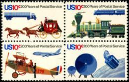1975 USA Postal Service Bicentennial Sc#1572-75 1575a Space Satellite Plane Train Stagecoach Horse Trailer Truck Post - Space