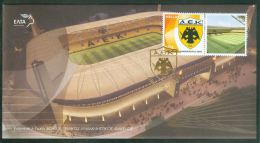 Personalized Stamp With Label Official Issue, Football Soccer Club AEK, Commemorative Cancel  Greece 2013, New Stadium - Club Mitici