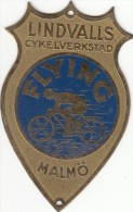 Plaque Velo -FLYNG LINDVALLS MALMO - New Unused 75x47 Mm - Luxurious - Sverige - Cycling