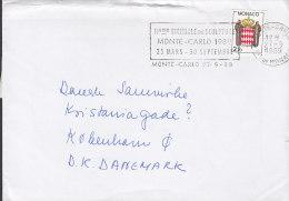 """Monaco Flamme """"Biennale De Sculpture"""" MONTE-CARLO 1989 Cover Lettre Landeswappen 3-sided Perf. Dog Hund Chien Label - Monaco"""