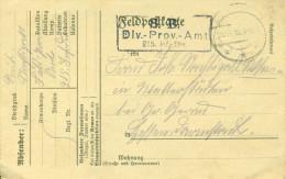 Feldpost 1. WK   DIV.-PROV.-AMT  215. Inf. Div. 20.11.1918  kurz vor Kriegsende