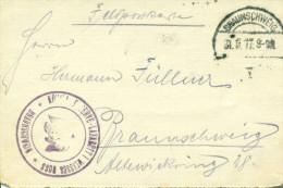 Feldpost 1. WK K�NIGL. RESERVE LAZARETT I  WEISSES  ROSS  BRAUNSCHWEIG  1917