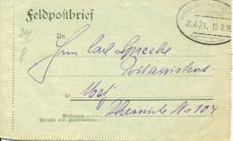 Feldpost 1. WK  Bahnpost BR�SSEL -  HERBES(THAL) Zug 421  1916 Absender Br�ssel Bahnpostamt