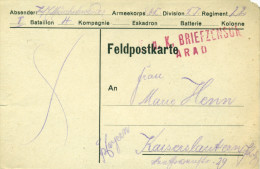 Feldpost 1.WK  K.u.K. BRIEFZENSUR  ARAD  1916