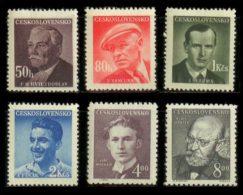 CZECHOSLOVAKIA 1949 MNH** - Writers - Mi 566-71, YT 492-7 - Neufs