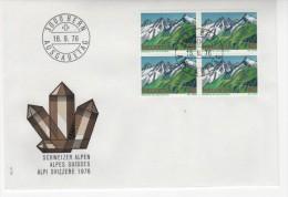 Alpi Svizzere,FDC Con Quartina ,  1976 Minerali Sulla Busta - FDC
