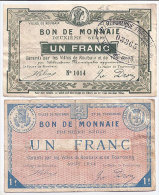 2 Billets Monnaie De Nécessité Villes De Roubaix Et Tourcoing 1914 Ww1  Scan Recto-verso Pour Détail - Billets