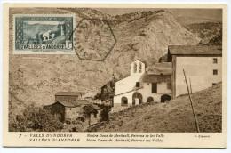 ANDORRE CARTE MAXIMUM DU N°24 CHAPELLE NOTRE DAME DE MERITXELL OBLITERATION 8-3-38 CANILLO - Cartoline Maximum