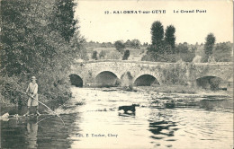 CPA 71 SALORNAY SUR GUYE LE GRAND PONT PECHE AU CARRELET - Frankrijk